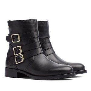 NEW: Tommy Hilfiger Black Leather Moto Boots